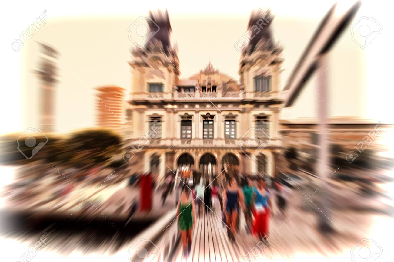 Abstract Background Pedestrians In Front Of The Port Of Barcelona Stock Photo Picture And Royalty Free Image Image 46620952