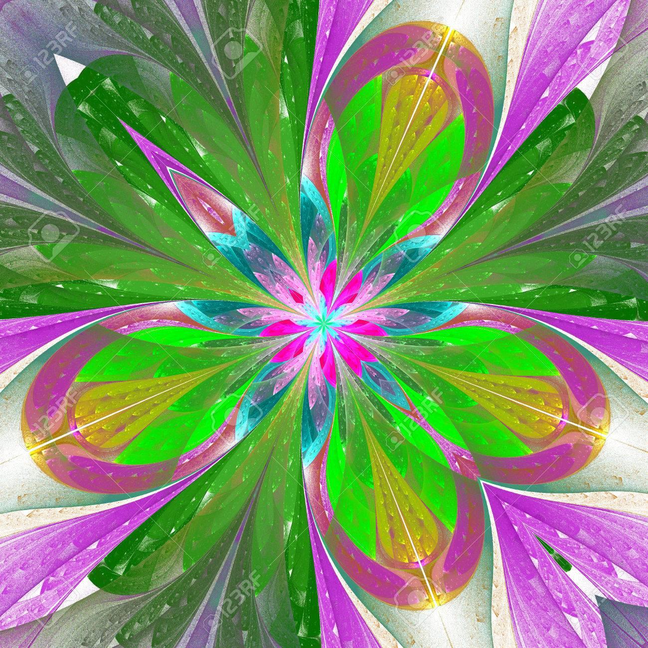 Fractal De La Flor Hermosa O Una Mariposa En Estilo Vitral. Elemento ...