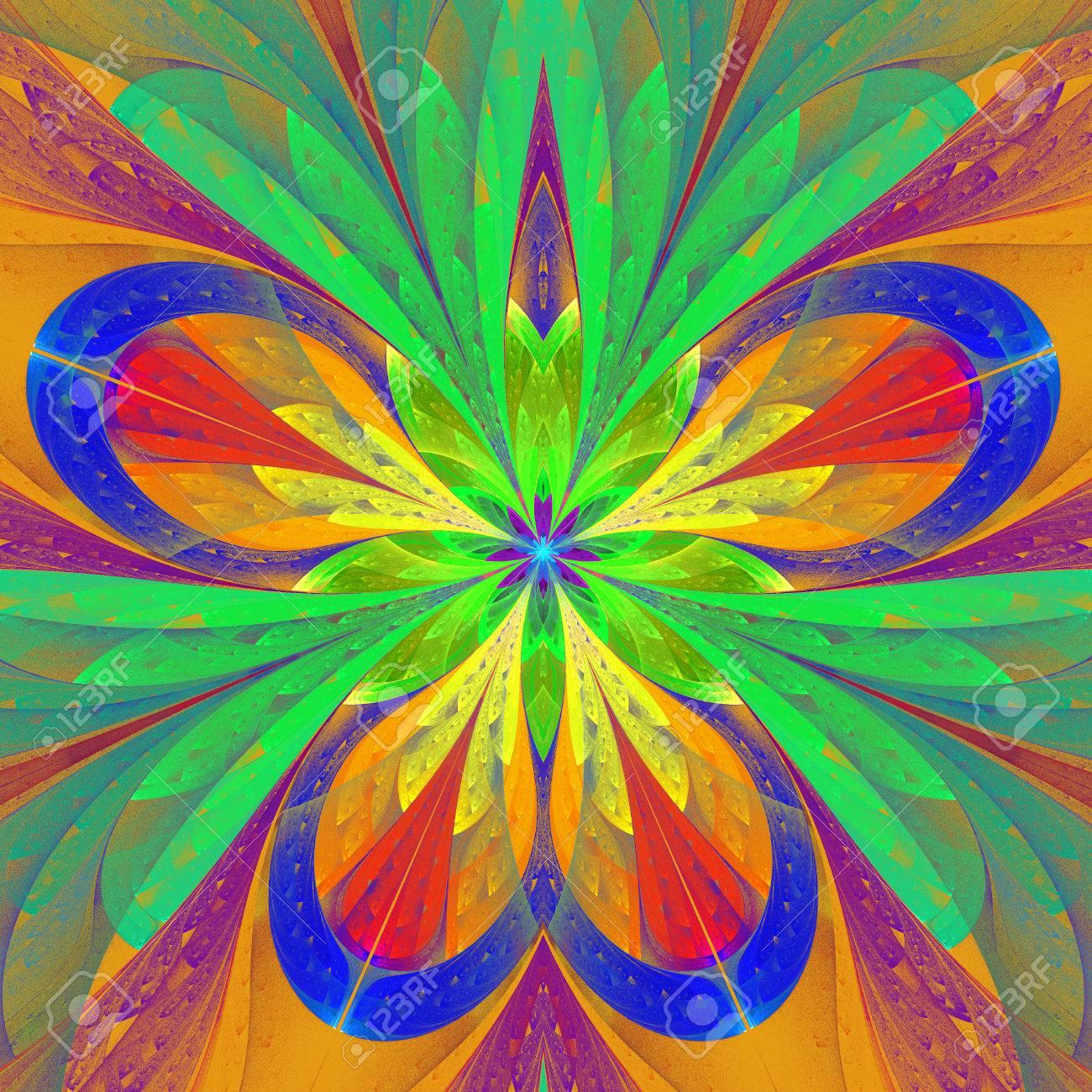 Bella Flor Fractal Multicolor O Una Mariposa En Estilo Vitral. Obras ...