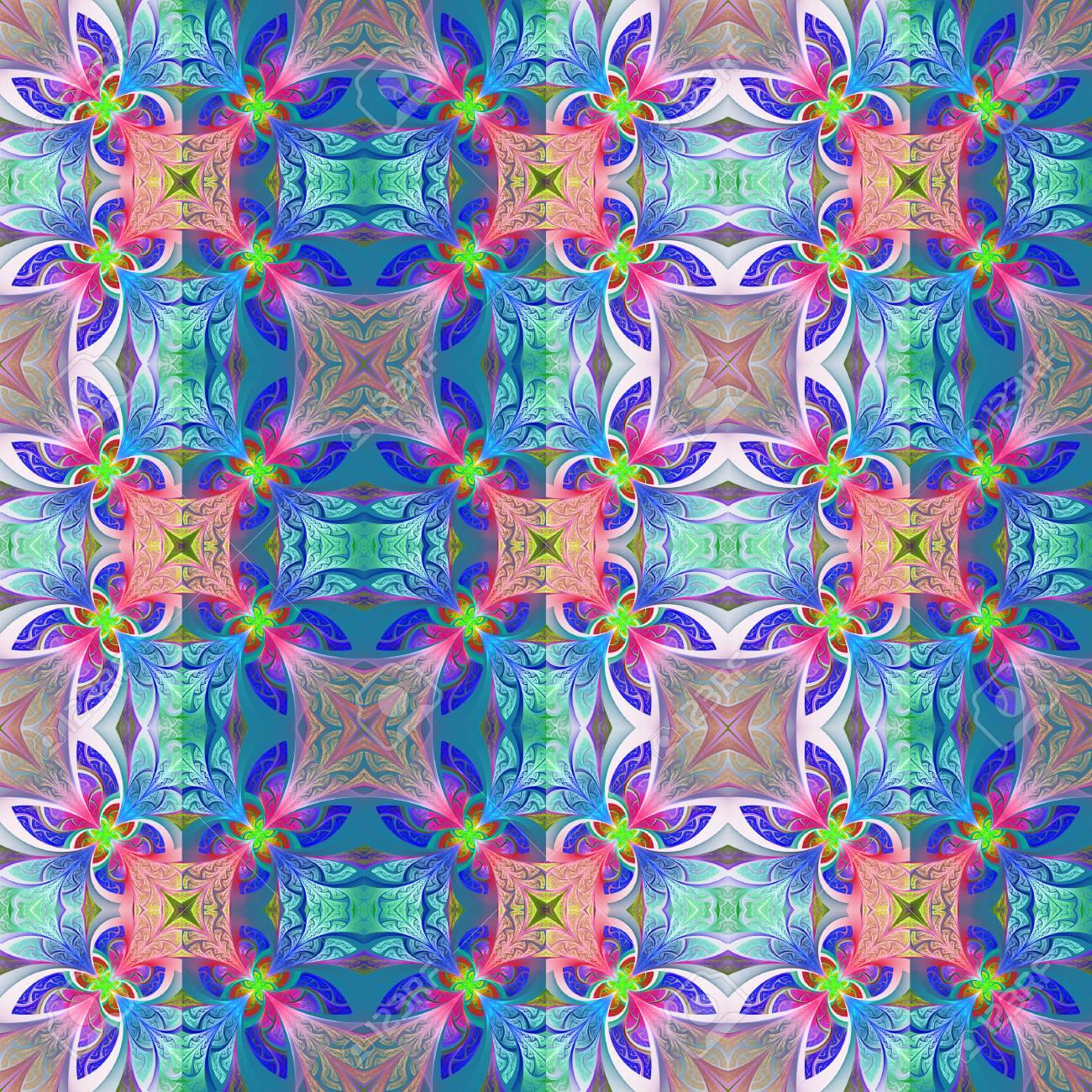 Zweifarbiges Nahtlose Blumenmuster In Glasfenster Stil Sie Konnen