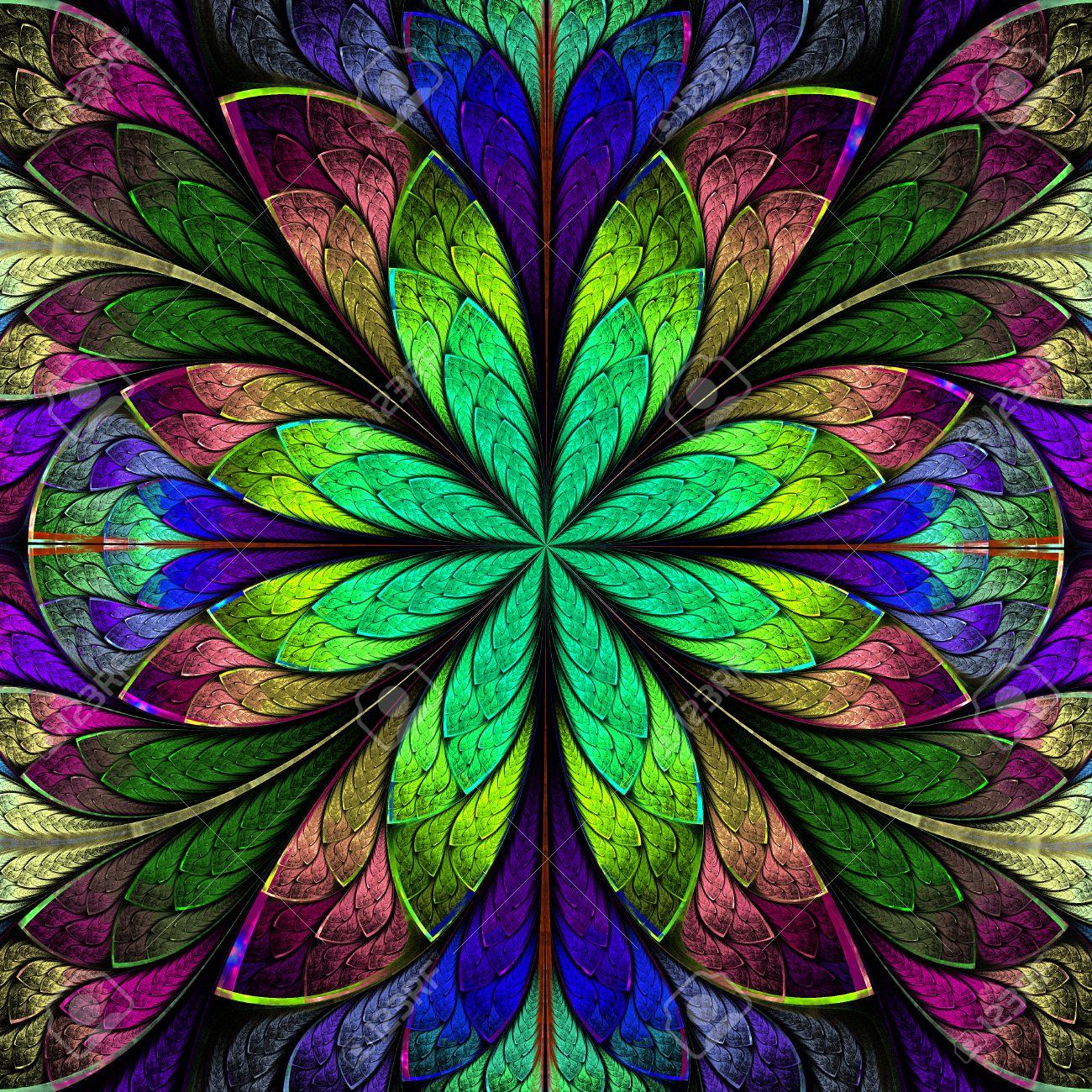 Flor Simétrica Multicolor Del Fractal En Estilo Del Vitral ...