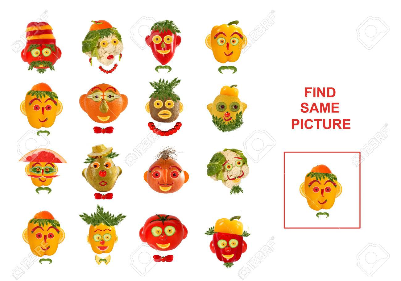 Cartoon Illustration of Finding the Same Picture. Educational Game for Preschool Children. - 57994663