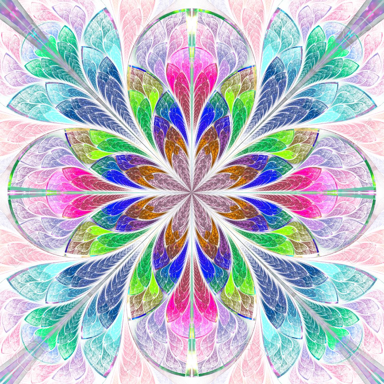Multicolored Symmetrical Fractal Flower In Stained Glass Window Stock Photo Picture And Royalty Free Image Image 62414867