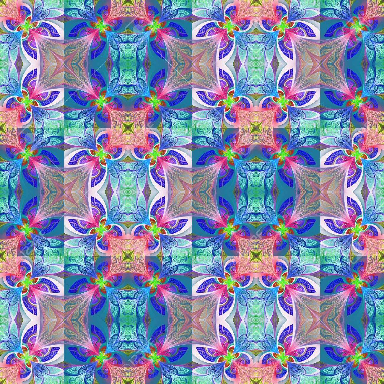 Zweifarbiges Nahtloses Blumenmuster In Der Buntglasfensterart Sie