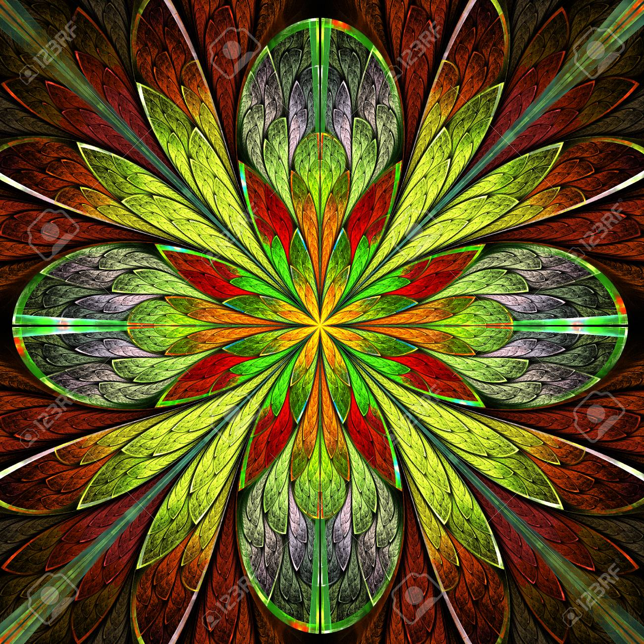 Multicolored Symmetrical Fractal Flower In Stained Glass Window Stock Photo Picture And Royalty Free Image Image 74744409