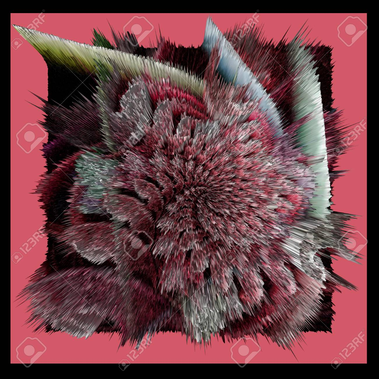 Abstract Flower In Black And Pink Shades On A Dark Pink Background
