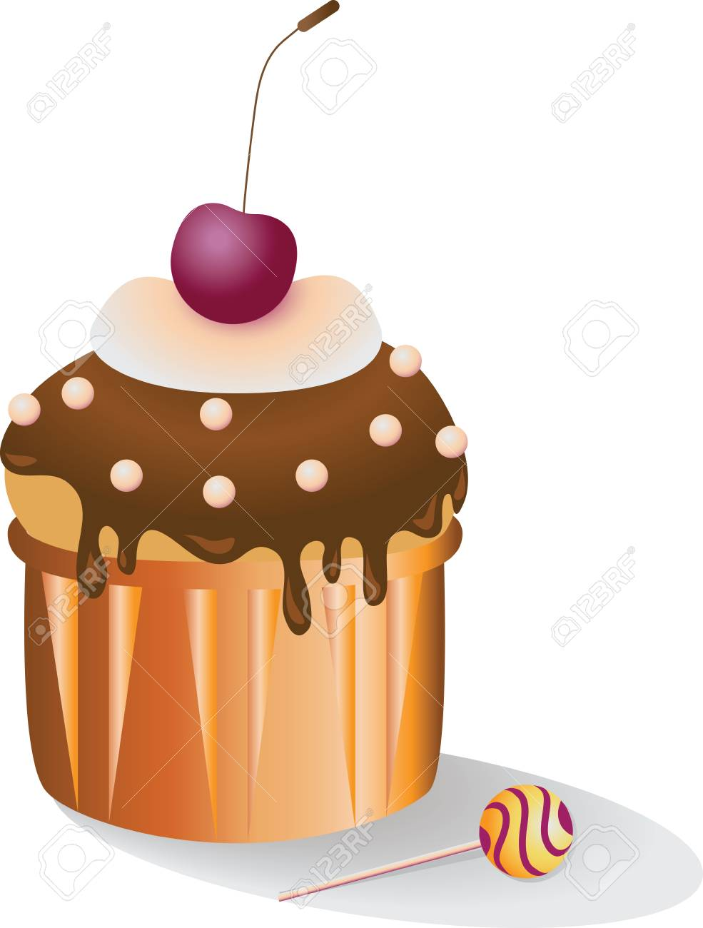 cupcake with a cherry vector image of dessert for leaflets