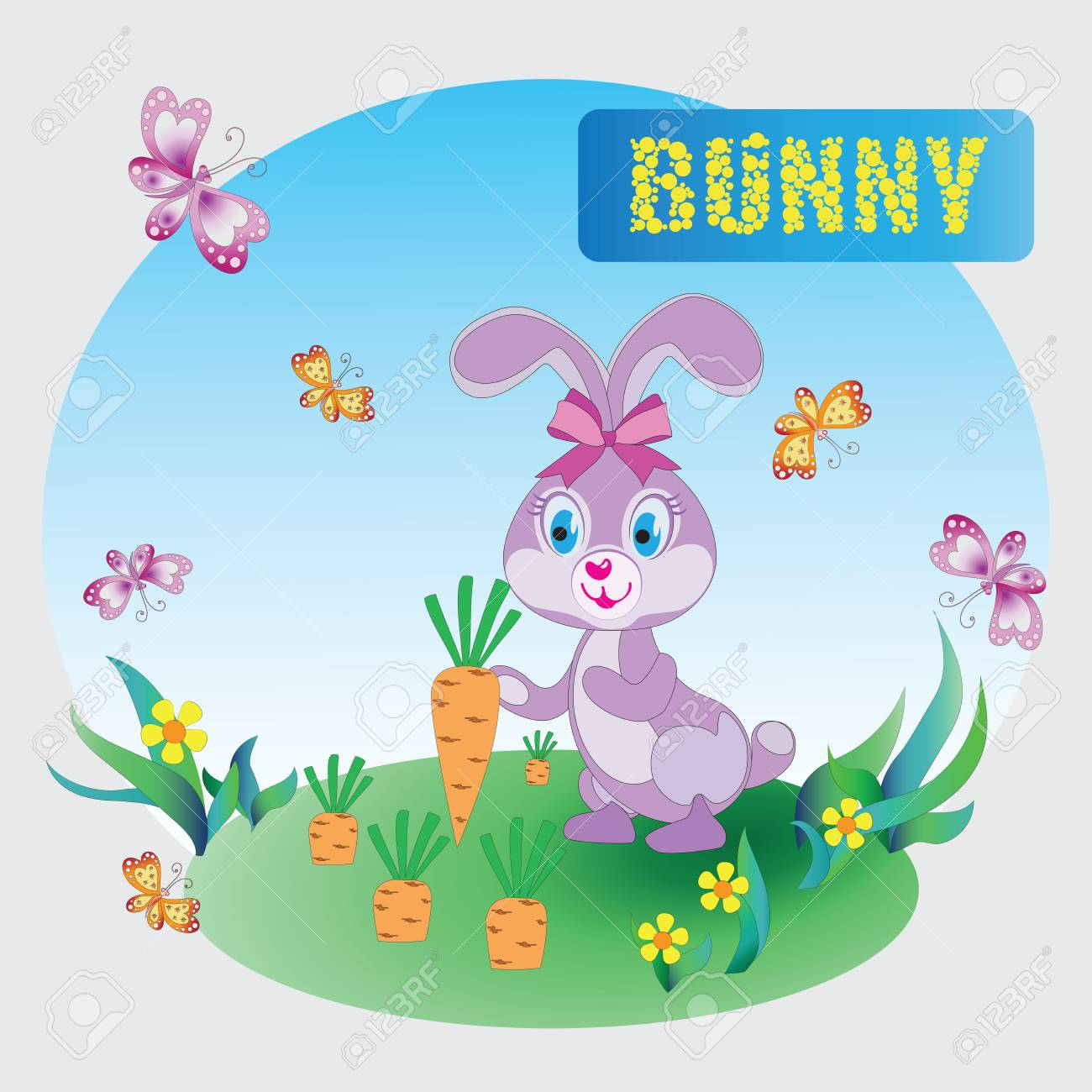 Funny Pink Bunny Zoo A Child S Drawing The Cartoon Characters