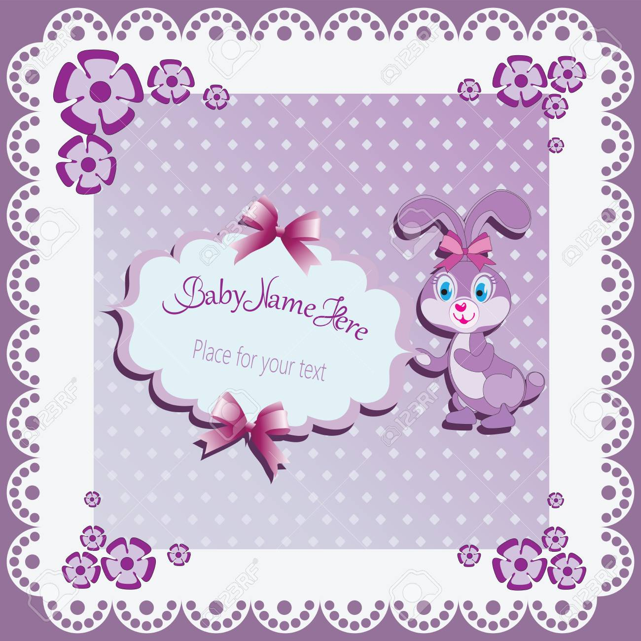 Funny Lilac Bunny Baby Shower Card Template Invitations Greetings