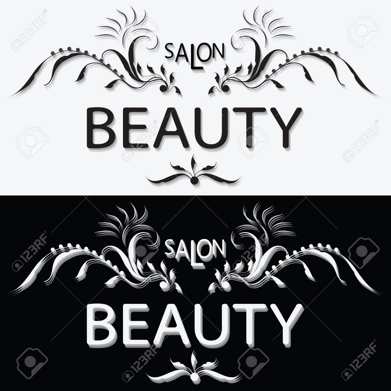 BEAUTY SALON  Black and white label  Set  The logo design  Handmade