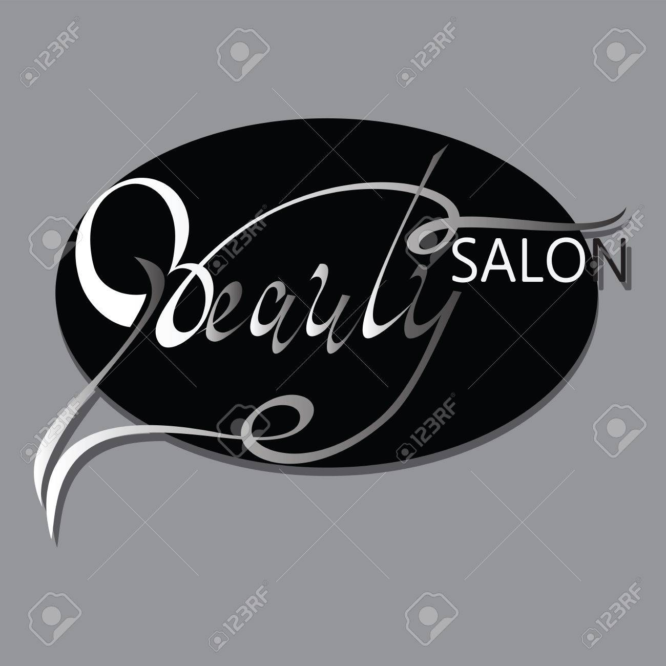 BEAUTY SALON Logo Design Hand Drawn Text Phrase Decorative In Oval