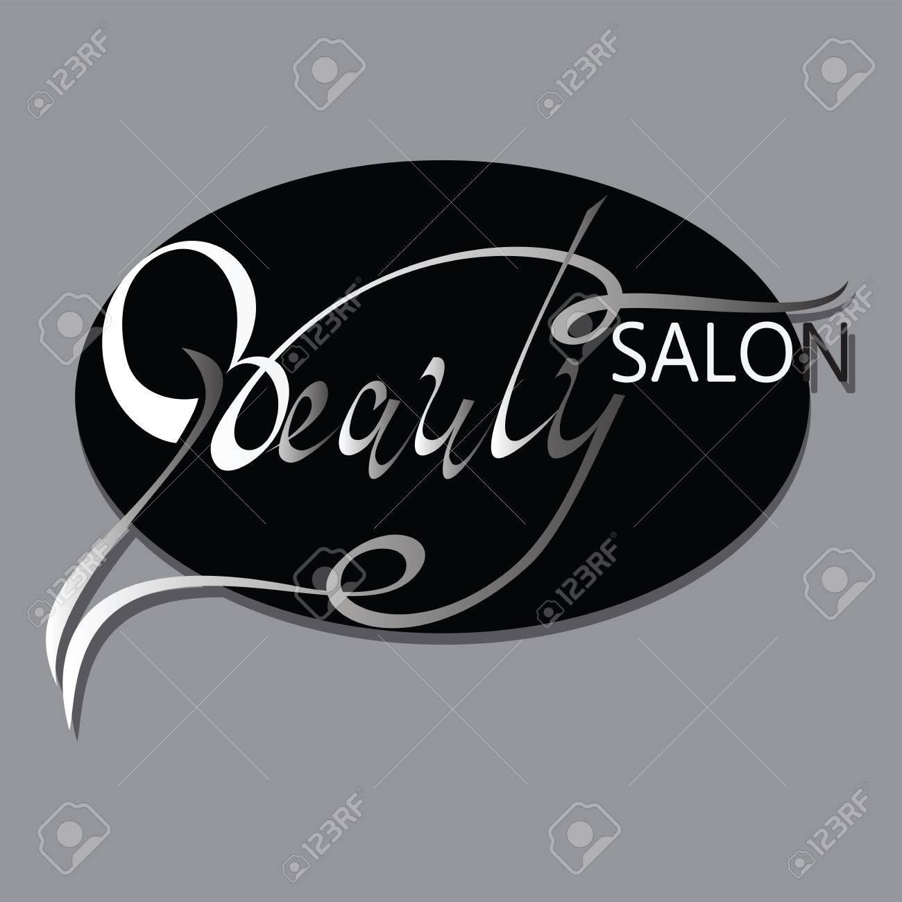 BEAUTY SALON Logo Design Hand Drawn Text Phrase Decorative In Oval