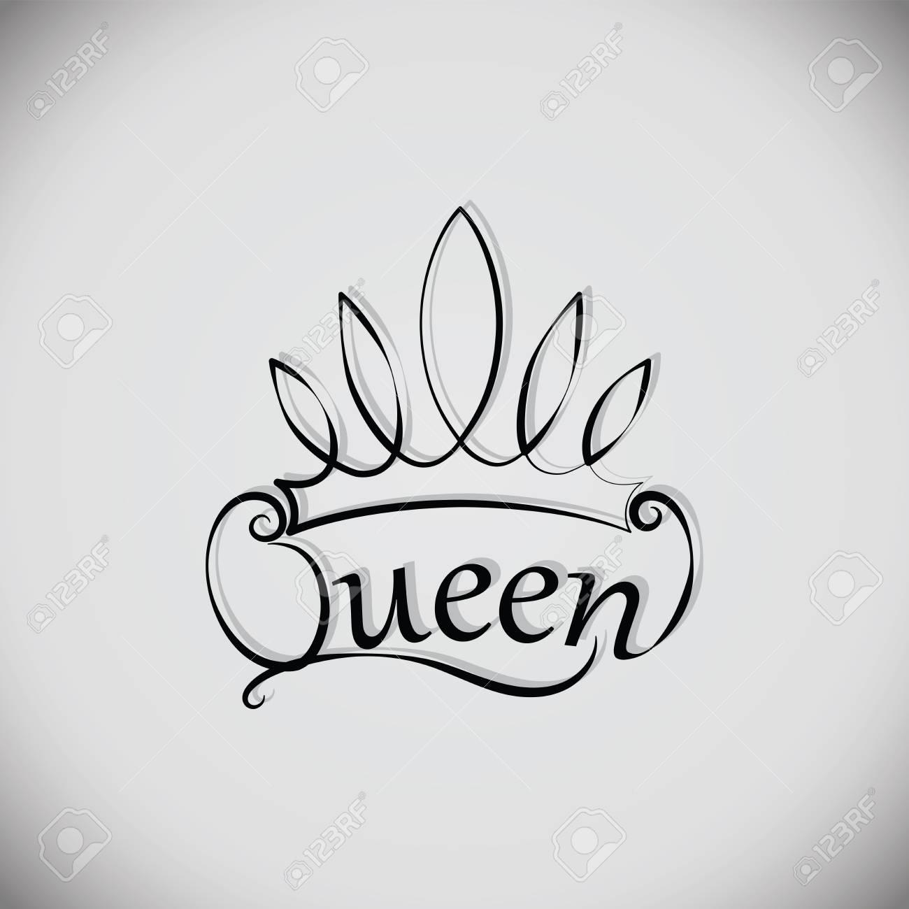 Reina Y La Corona Emblema Logotipo Insignia Dibujo El Elemento