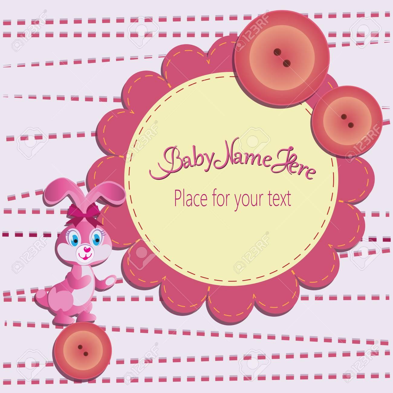 Hase Auf Dem Knopf Und Blume. Baby-Dusche-Karte. Vorlage Einladungen ...