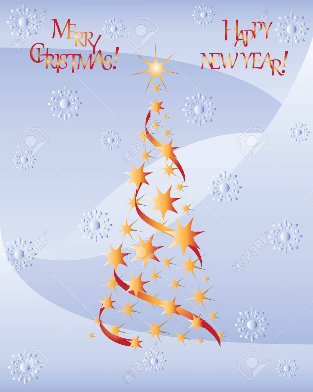 Starry Christmas Treerry Christmas And Happy New Year Design