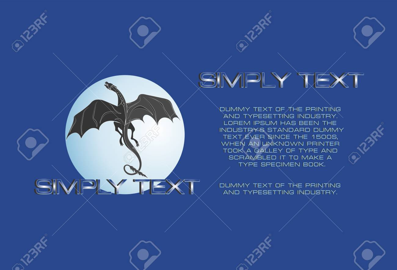 Dragon Against The Background Of The Full Moon Blue Background