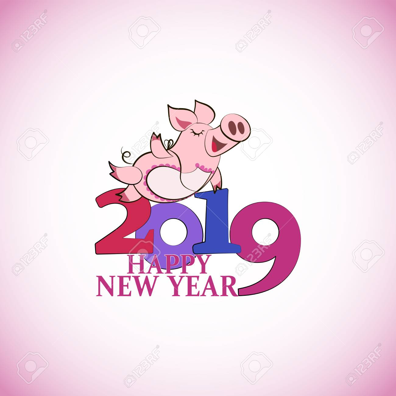 happy new year chinese symbol of the 2019 year greeting