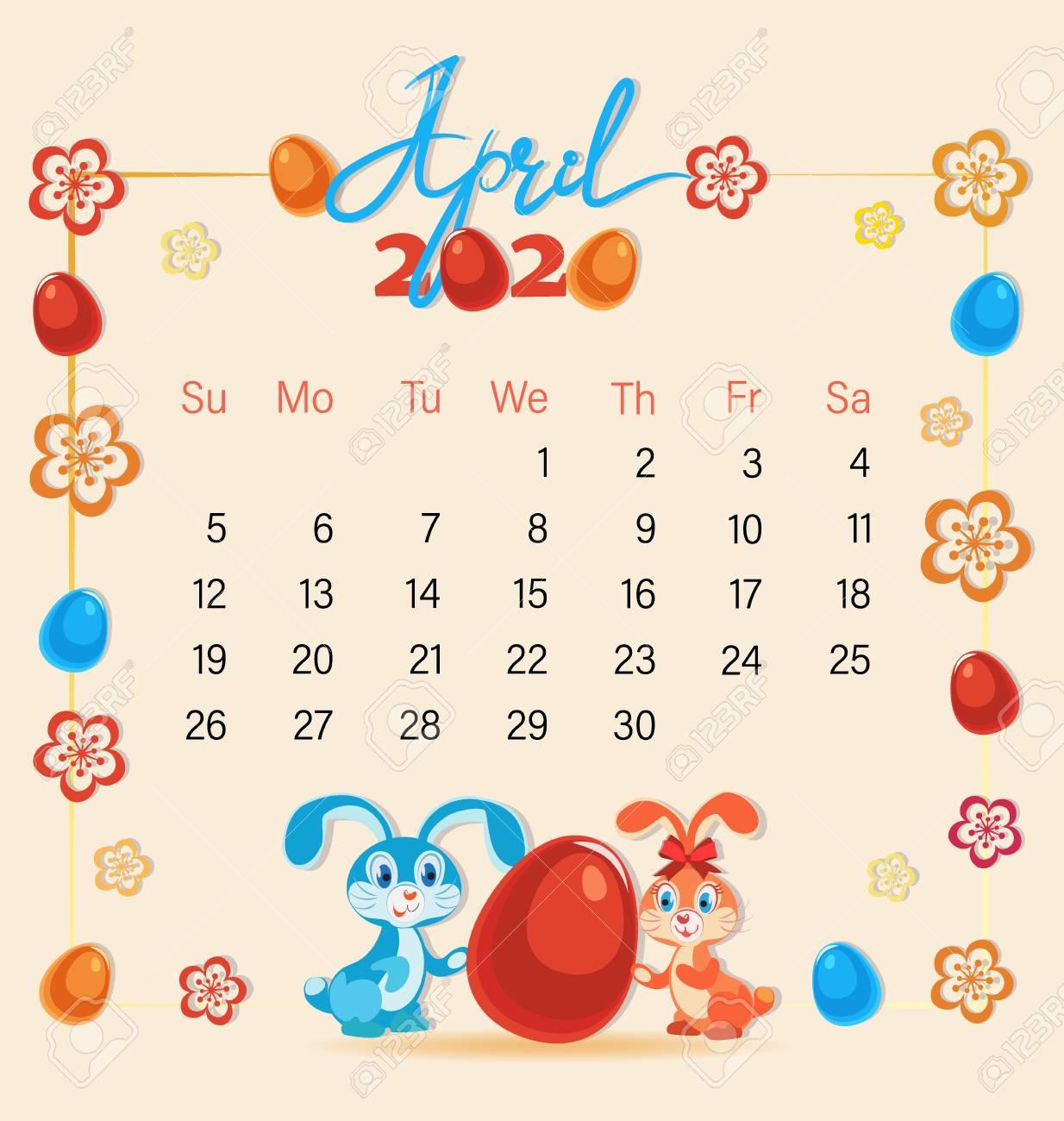 Easter 2020 Calendar.Festive April With Cute Easter Bunnies Calendar 2020 Easter