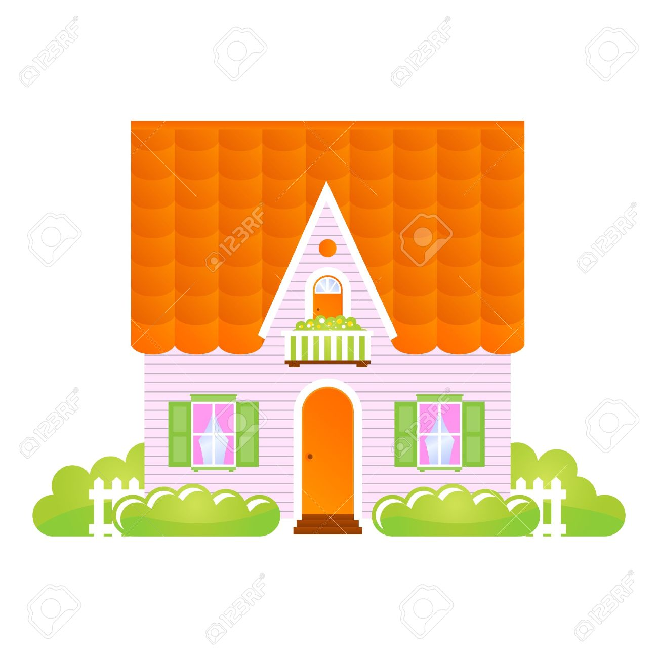 瓦屋根の小さな家イラストのイラスト素材ベクタ Image 9832842