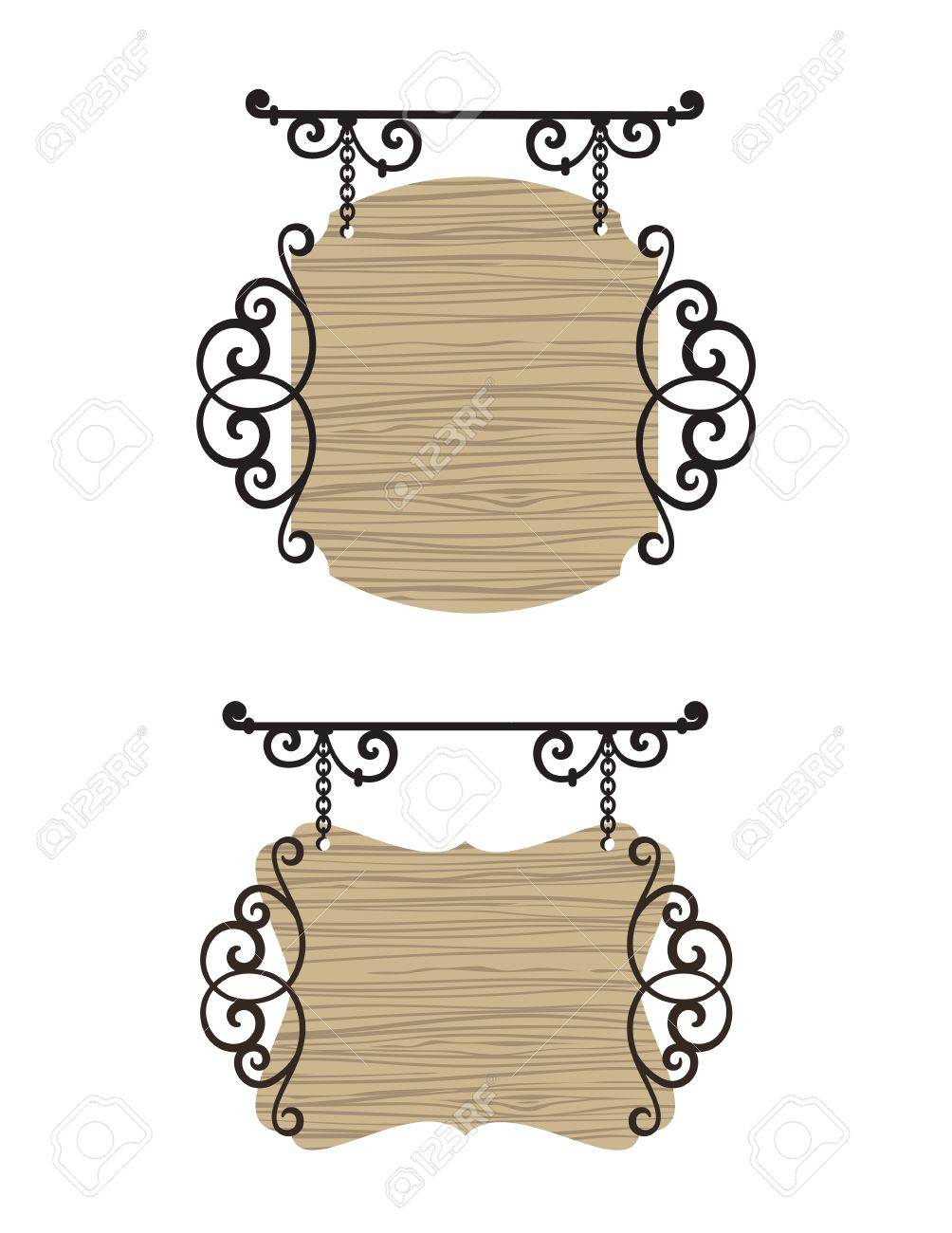 Wooden wrought iron vintage signs. Stock Vector - 9843424
