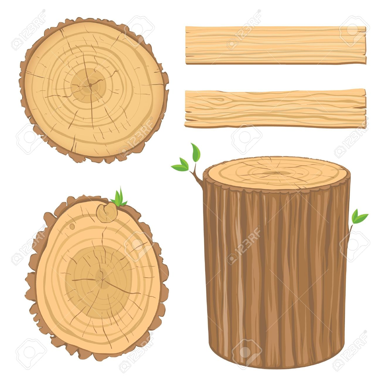 set of wooden materials - cross section of tree trunk, isolated on white background - 9843393