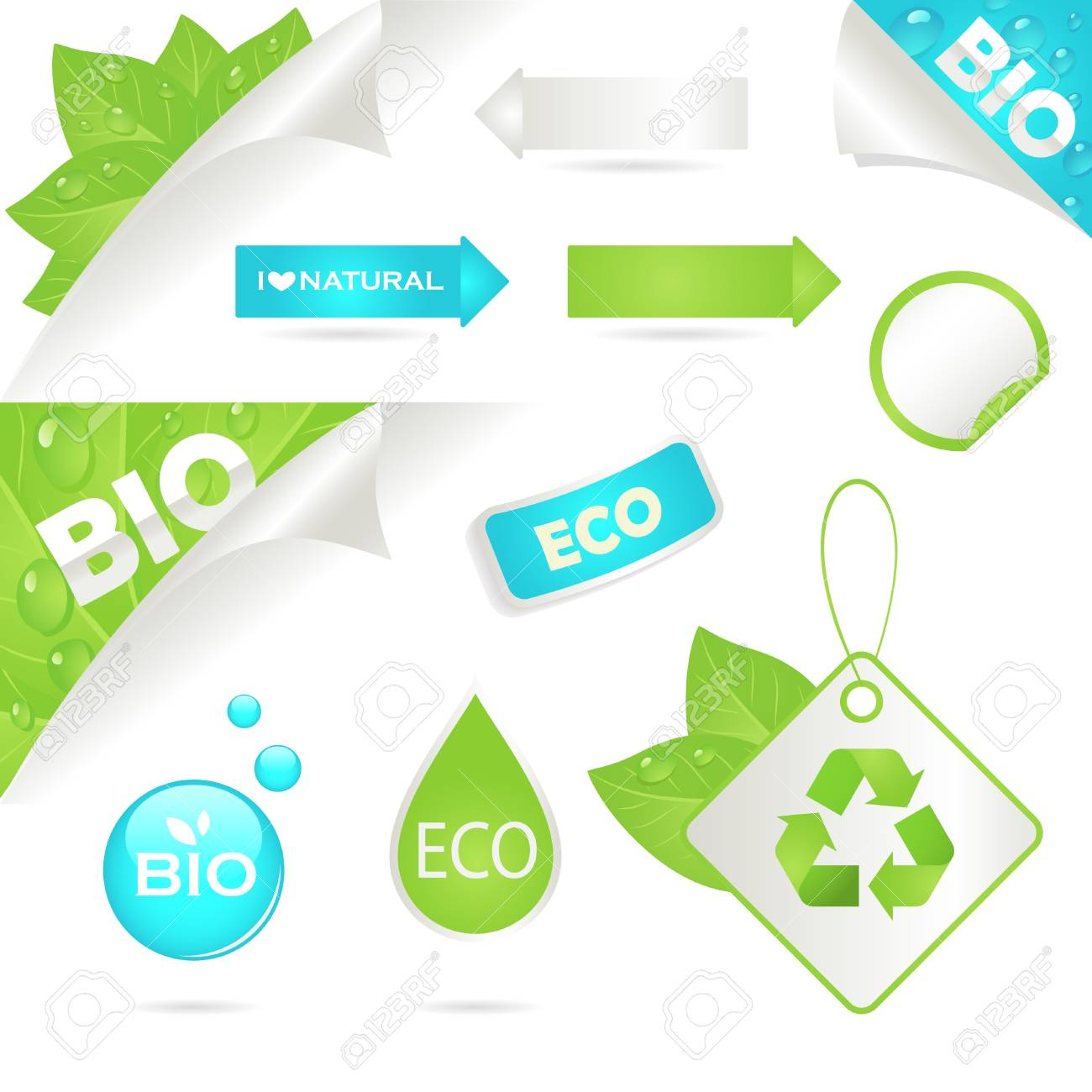 ecology labels and bio icons, An illustration Stock Vector - 9832892