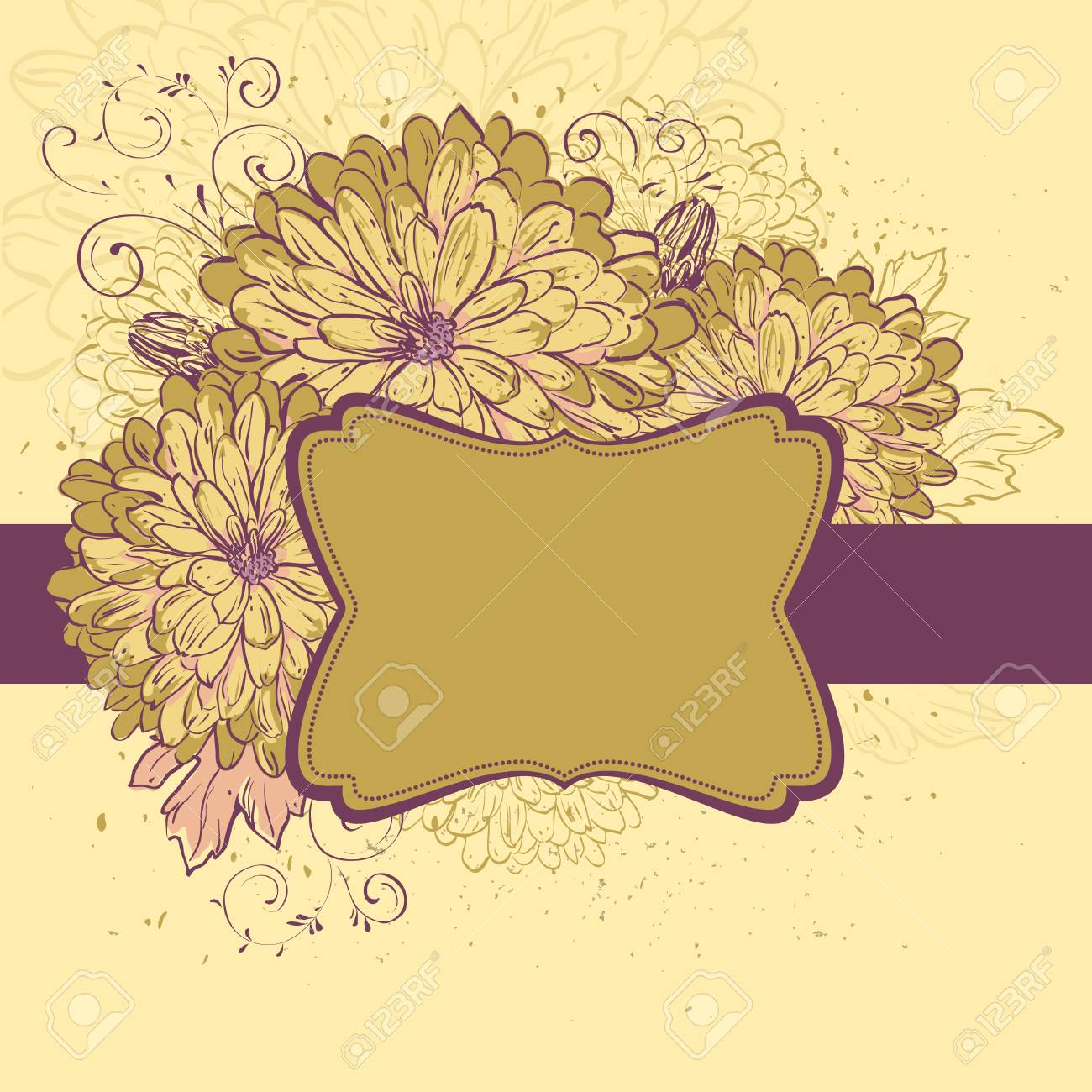 Blooming Chrysanthemums. Floral background  with space for your message Stock Vector - 9832926