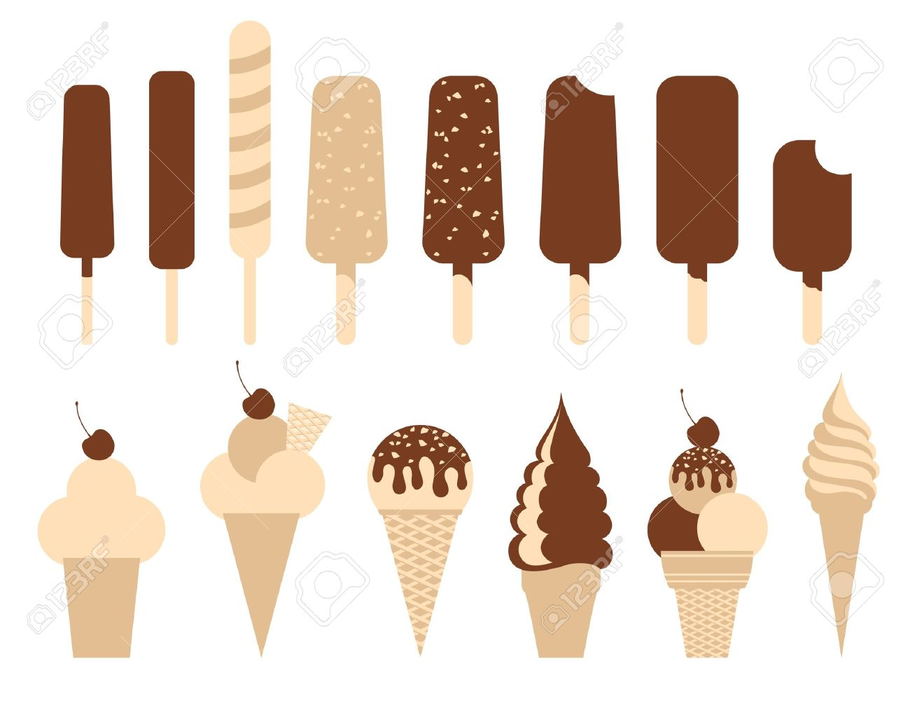 Ice cream pack. Set of 14 illustrations. Stock Vector - 9832902