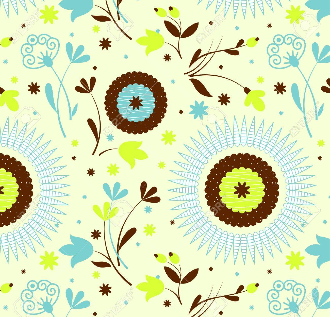 Seamless pattern petro floral,an Illustration Stock Vector - 9842900