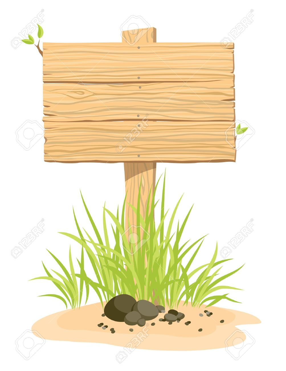 Wooden sign with green grass. An illustration. Stock Vector - 9832904