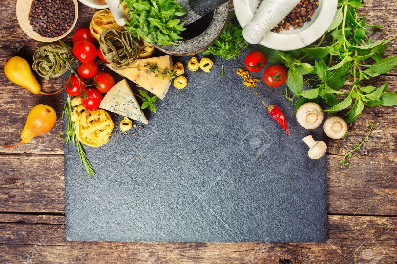 Italian Food, Pasta, Cheese, Vegetables And Spices. Food Background ...