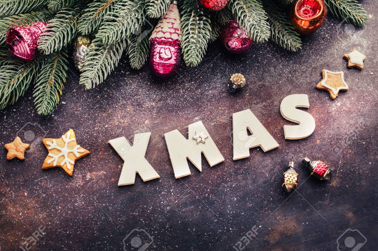 Christmas Background With Festive Decoration Wooden Letters