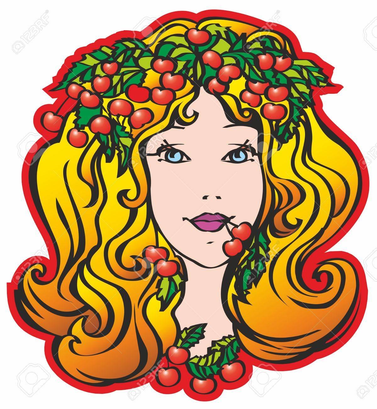 cherry, lady, leaves, face, female, girl, head Stock Vector - 17530707