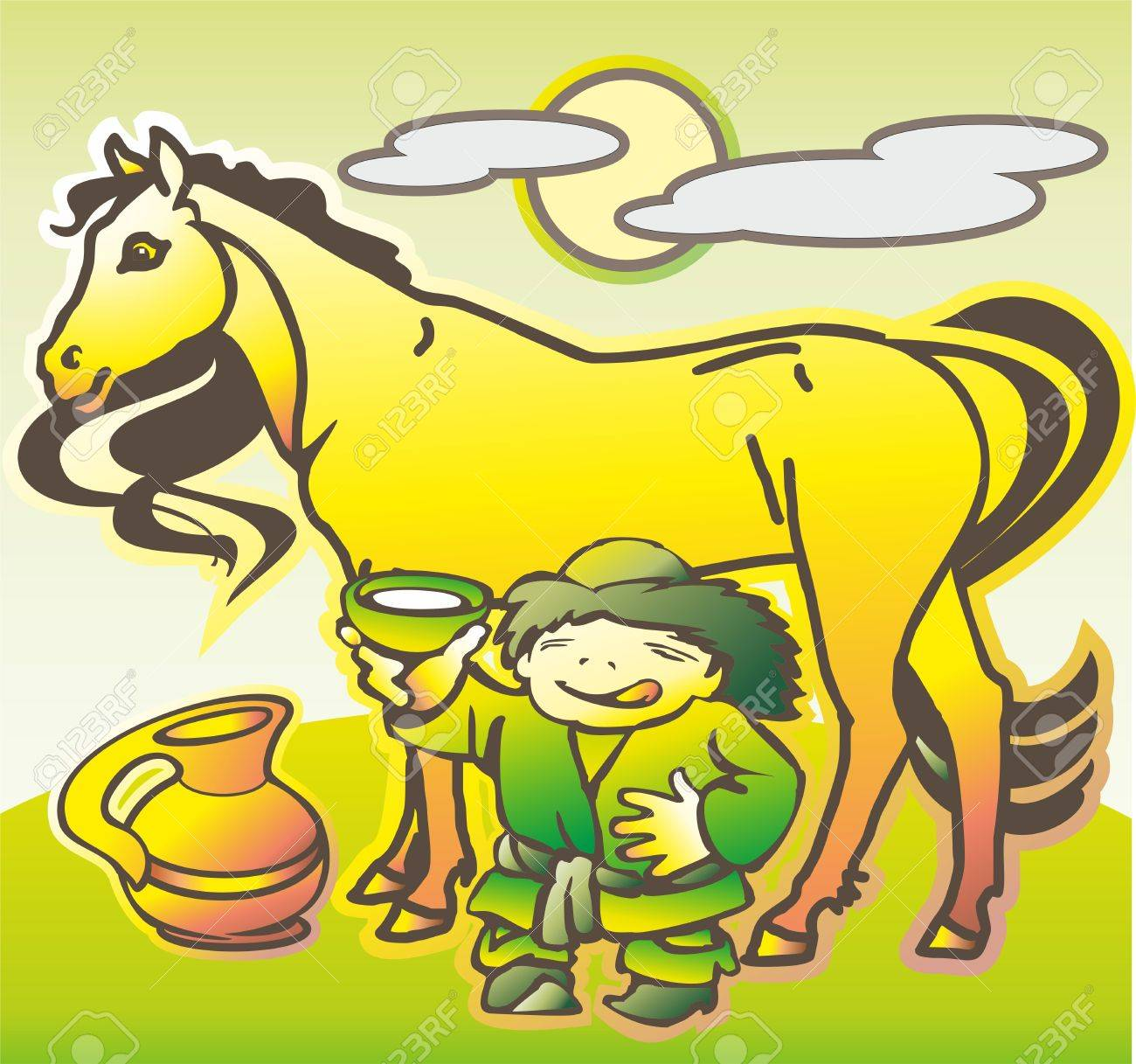 baby hun mongol offers horse mare milk into a bowl of pot Stock Vector - 17530747