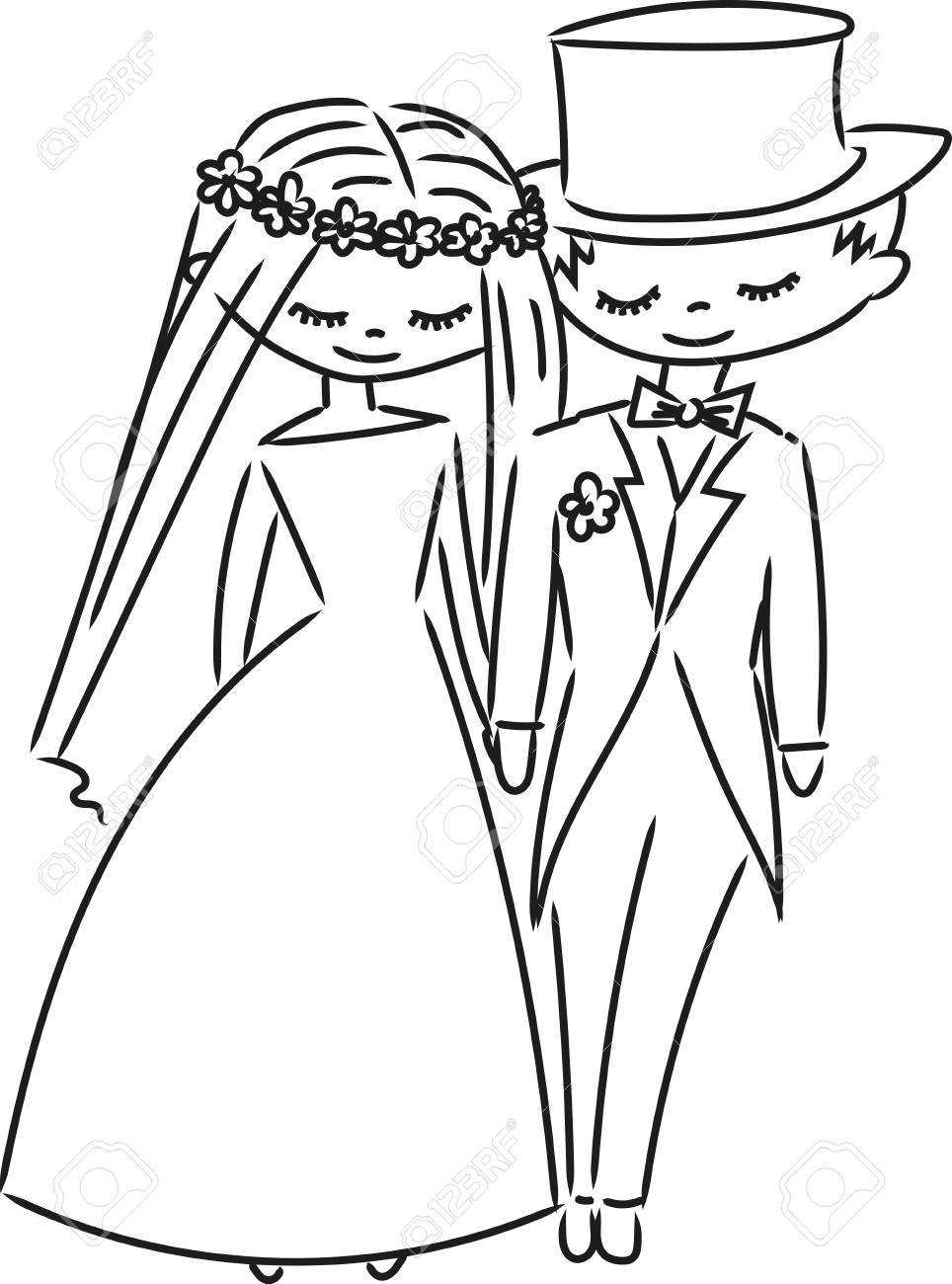 Wedding Couple Sketch Royalty Free Cliparts Vectors And Stock Illustration Image 76186453