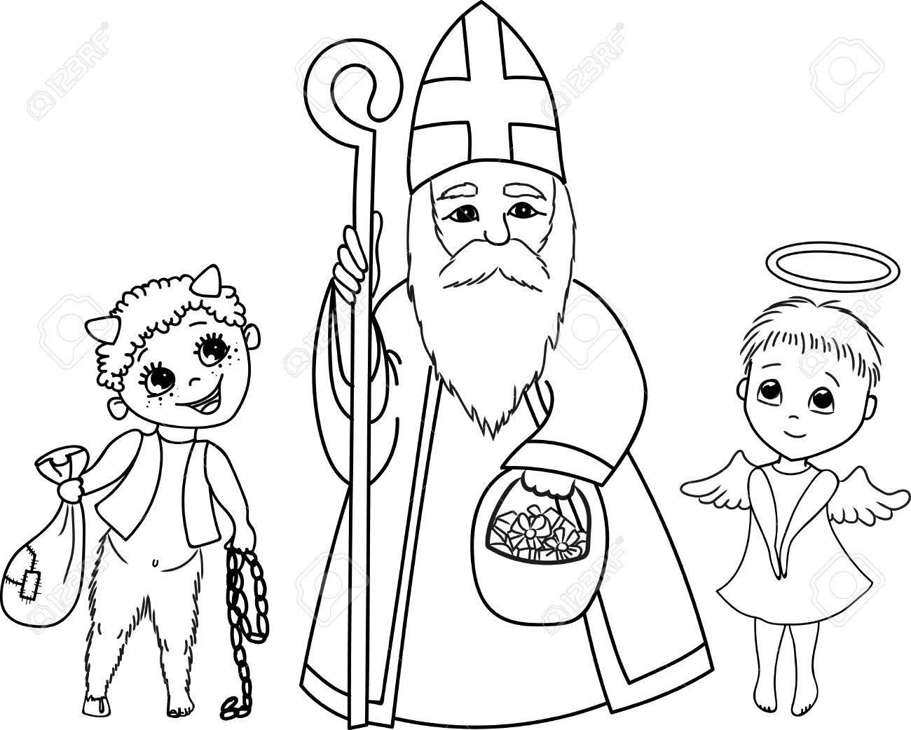 聖ニコラス悪魔と天使かわいいぬりえですのイラスト素材ベクタ