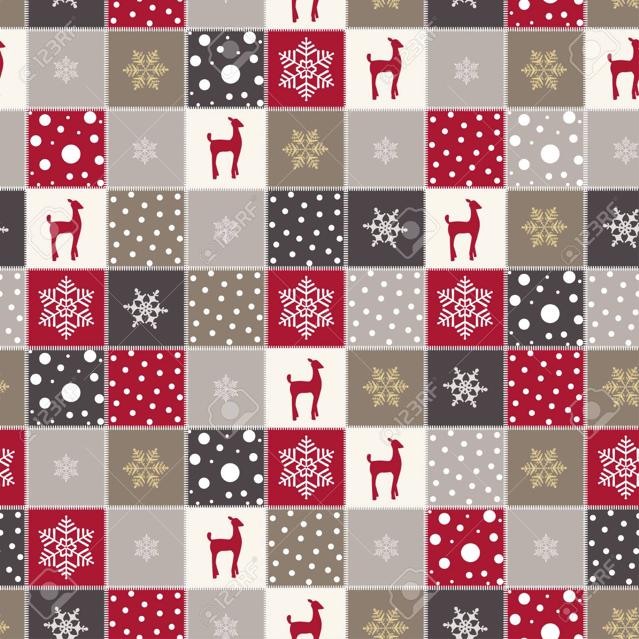 Christmas Textures.Christmas Background With Red Reindeer Snow And Snowflakes