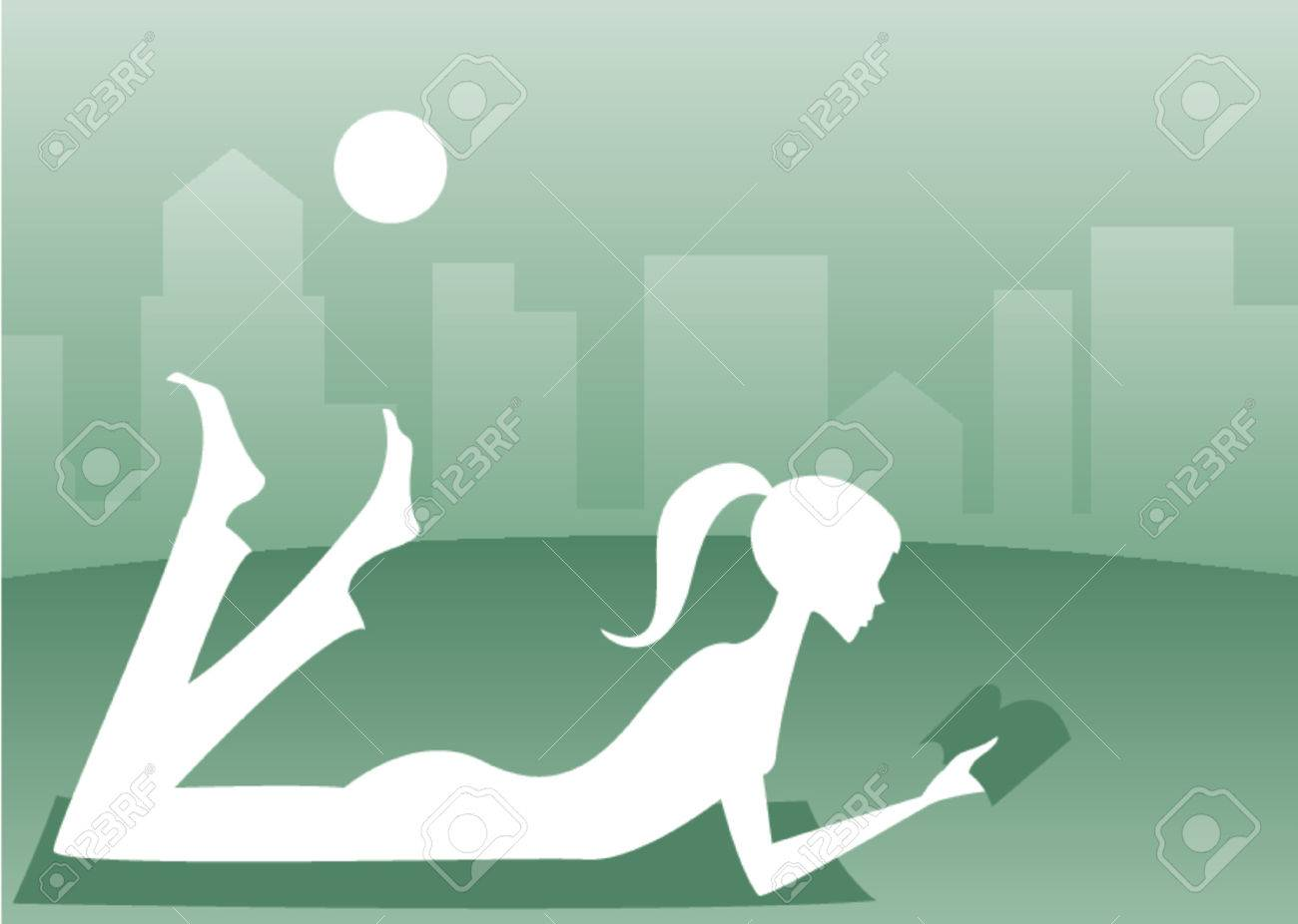 Silhouette of a girl lying in the grass with a good book, a cityscape in the background Stock Vector - 607453
