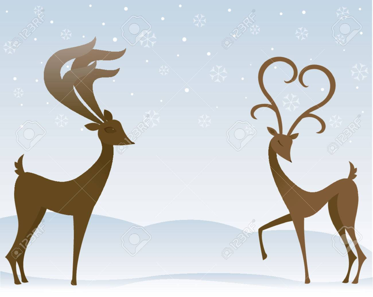 Two stylized reindeer flirt in the snow - the female's antlers resemble a large heart Stock Vector - 607295
