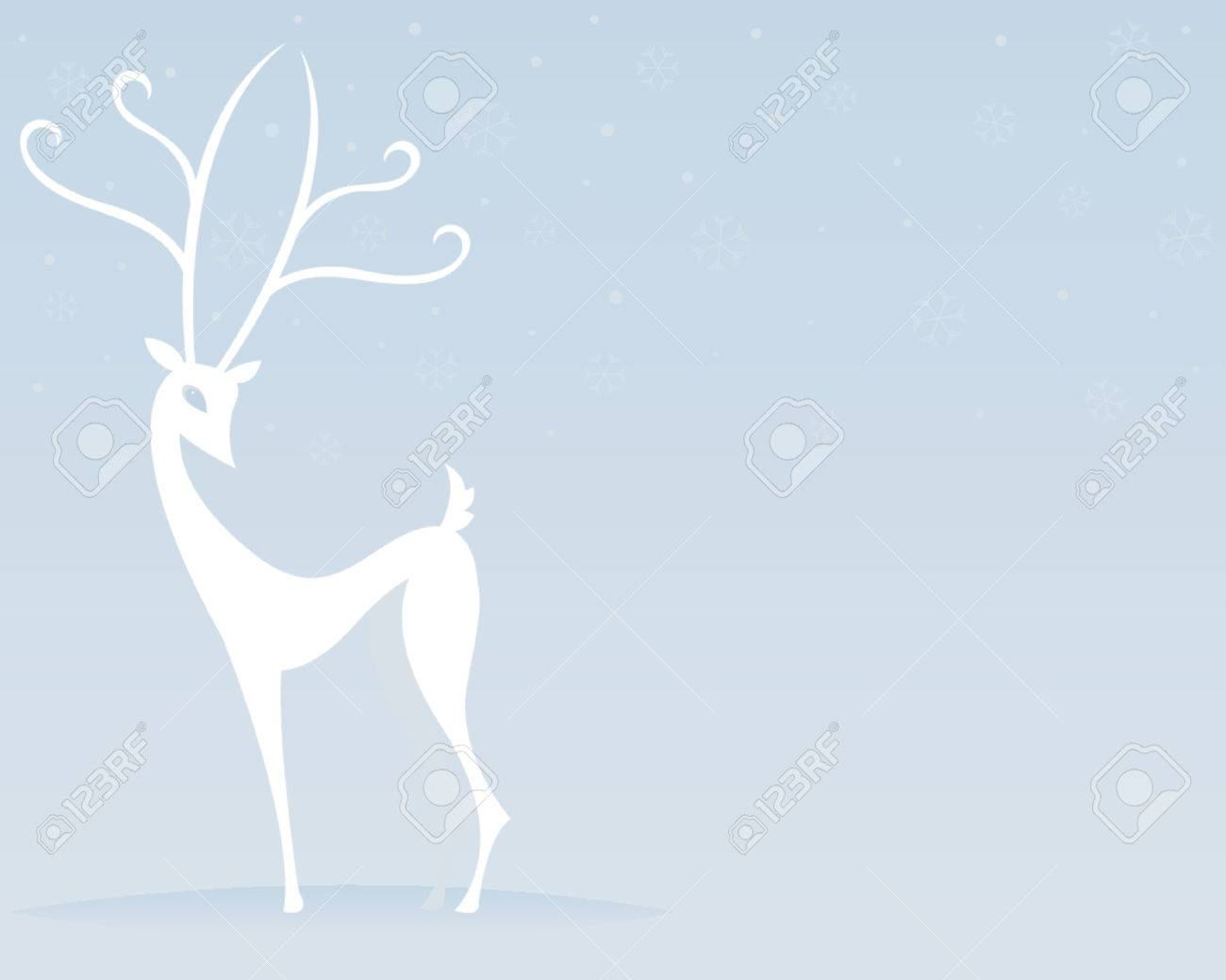 Stylized white reindeer stands outside while snowflakes fall Stock Vector - 607290