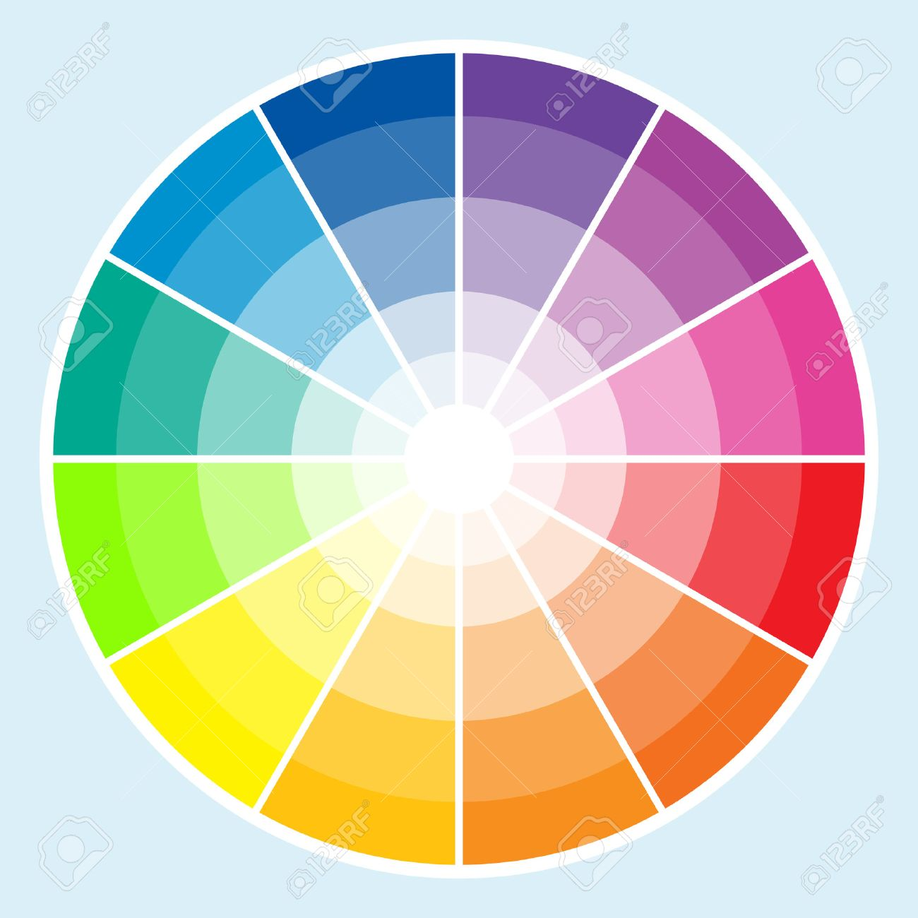 Classic Color Wheel With The Colors Moving Into Lighter Shades Stock Vector