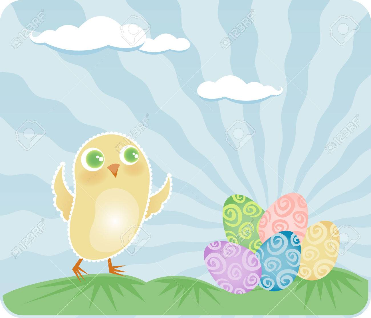 Happy little baby chick finds a colorful pile of decorated eggs on Easter morning Stock Vector - 4855888