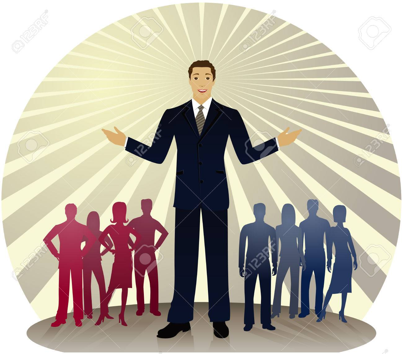 Politician standing out in front of silhouetted people divided into red and blue party colors... also could be a business man or sales person Stock Vector - 4855882