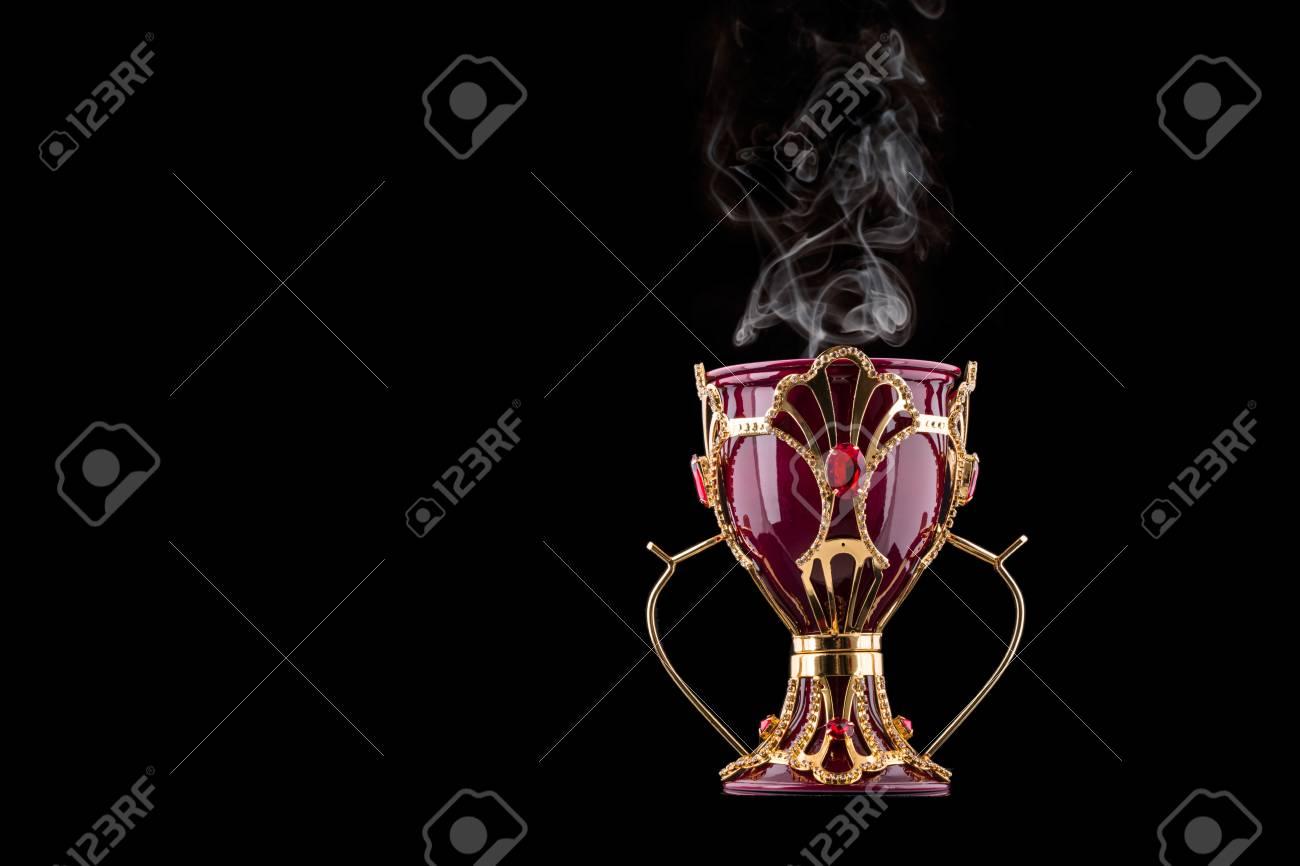 Red And Gold Arabic Traditional Incense Bukhoor Agar Wood Burner