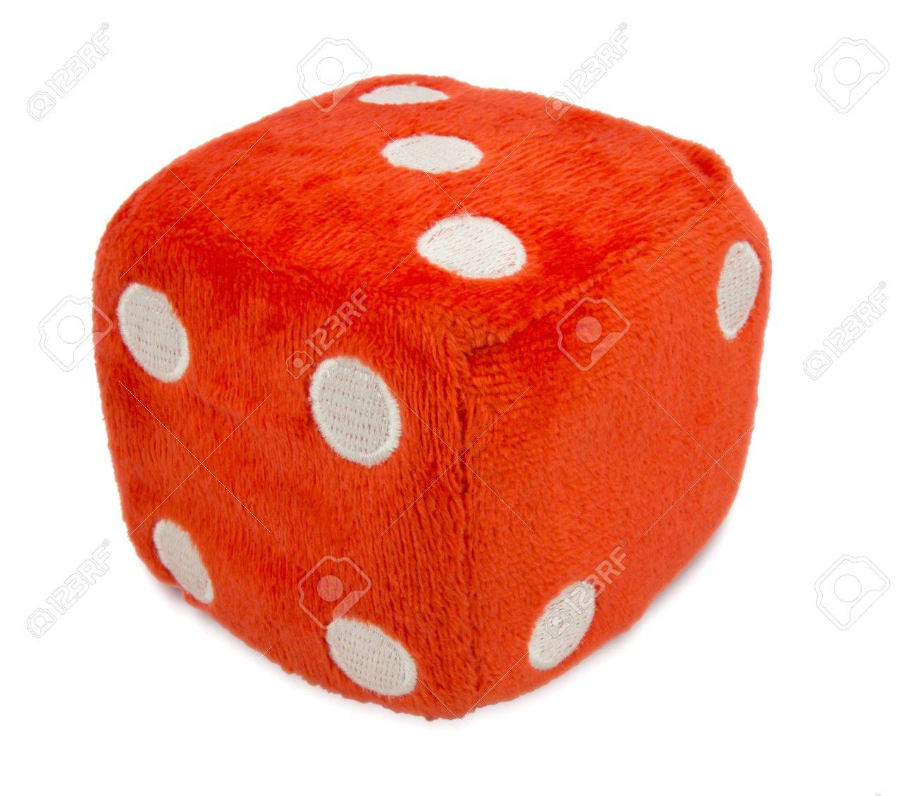 Red Fuzzy Dice Isolated On White Clipping Path Included Stock