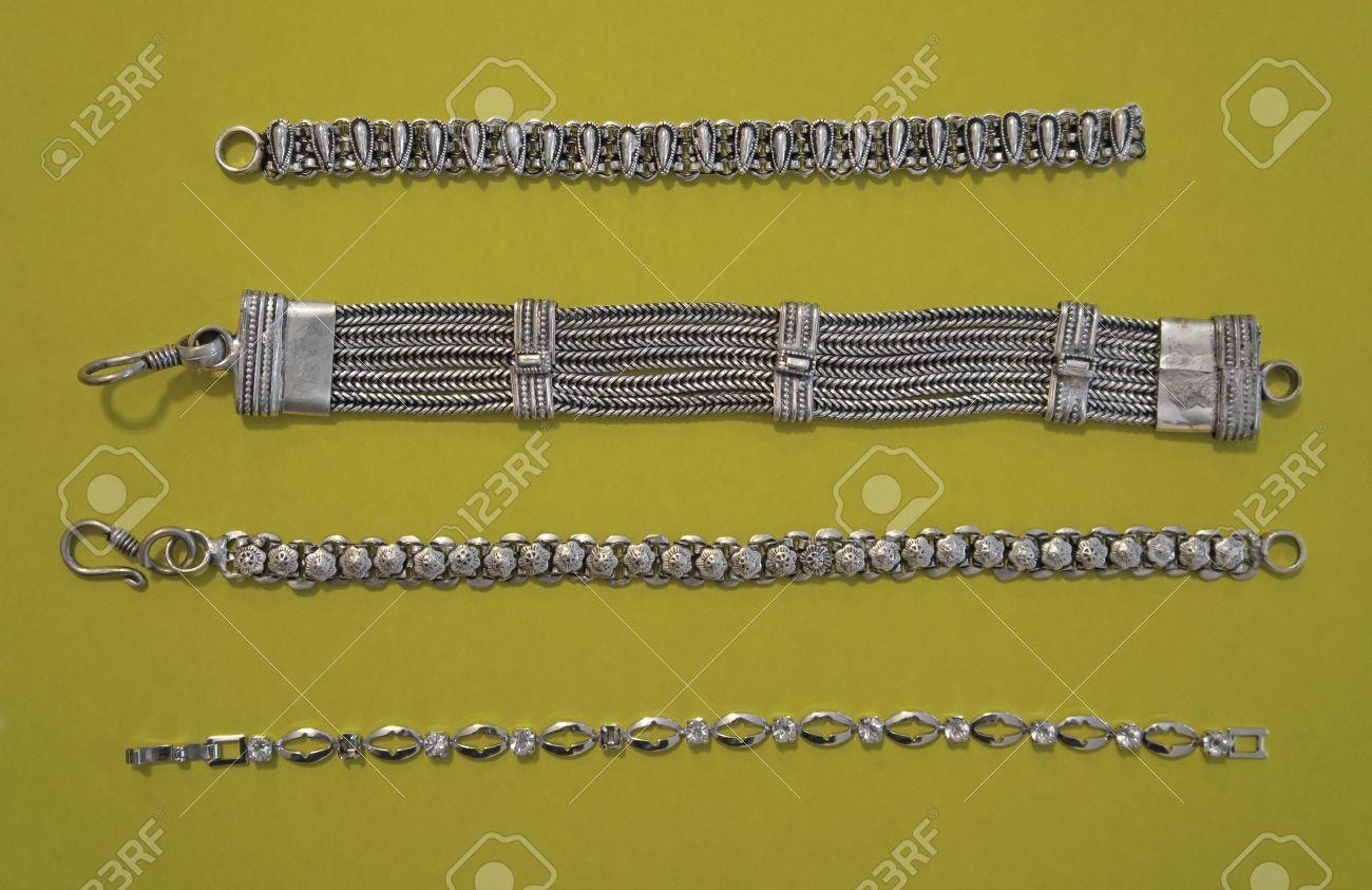 Asian old silver bracelets - National Kazakh culture Stock Photo - 11426490