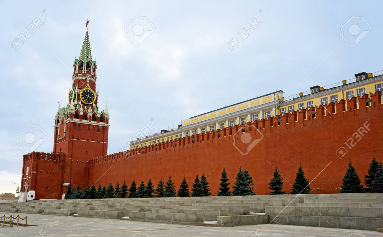 Spasskaya Tower of Moscow Kremlin.The Spasskaya Tower is the main tower with a through-passage on the eastern wall of the Moscow Kremlin, which overlooks the Red Square. Stock Photo - 13549294