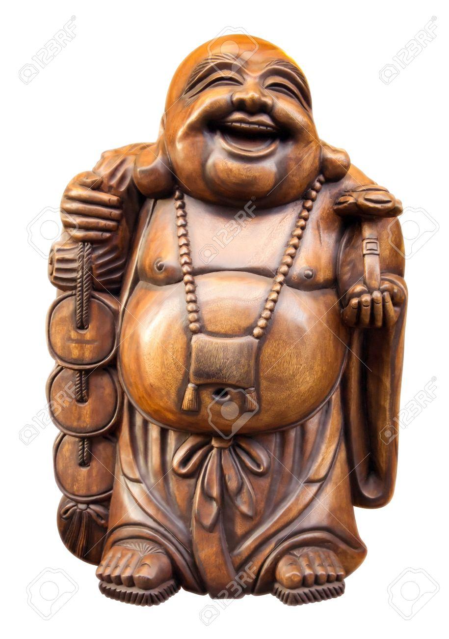 happy buddha aus holz isoliert auf weiss clipping pfad enthalten standard
