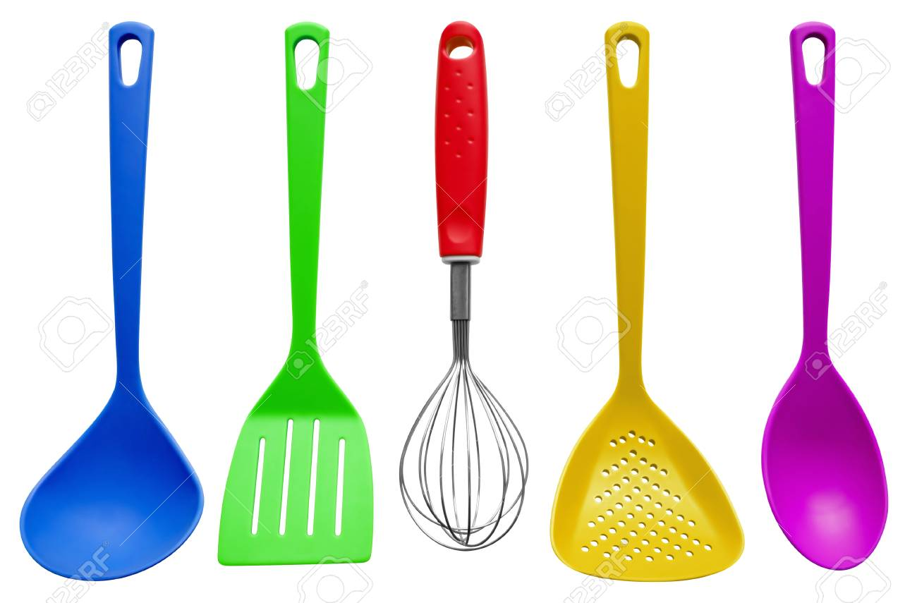 Merveilleux Colorful Plastic Kitchen Utensils Isolated On White. Stock Photo   55289749