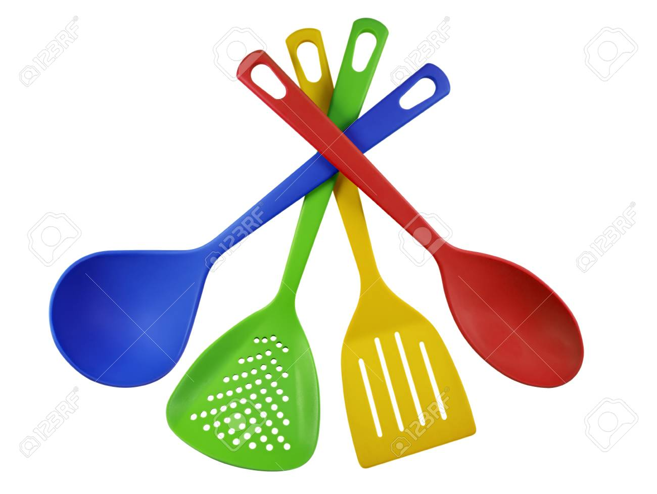 Colorful Plastic Kitchen Utensils Isolated On White. Stock Photo   55296398